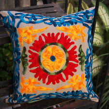 """16"""" Indian Cotton Cushion Cover Wool Embroidery Suzani Bohemian Decor Pillow"""