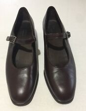 """MUNRO AMERICAN Brown SMOOTH LEATHER MARY JANE 1.5"""" HEEL SHOE Size 9 M"""
