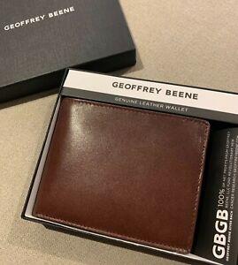 Geoffrey Beene men's wallet - brown, 4cc, 2 ID, with coin RRP $89.95