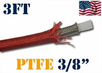 """3/8"""" 10MM NYLON STAINLESS STEEL PTFE  ETHANOL FUEL HOSE LINE 3FT RED"""