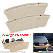 Beige PU Leather Catch Catcher Storage Organizer Box Caddy Car Seat Slit Pocket