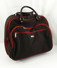 """Baggallini Rolling 17"""" Tote Carry On Bag Brown Red Wheeled Suitcase Roller"""