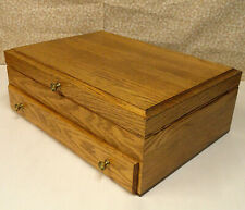 Vintage McGraw Golden Oak Wood Silverware Flatware Storage Box Chest With Drawer