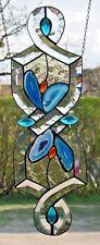 Bleiverglasung Fensterbild Facetten mit Echt-Antikglas und Achaten in  Tiffany