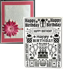 Darice Embossing folders - Birthday Collage folder 1219-227 words gifts balloons