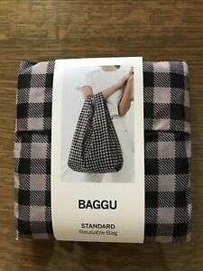 New W/tags Baggu Nylon Reusable Tote Bag Black Gingham Print, Standard Size