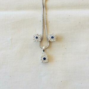 Earring set Pendent Natural Pave Diamond Sapphire 925 Silver Fine Jewelry DJ