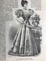 French MODE ILLUSTREE SEWING PATTERN January 3,1897 BALL GOWNS