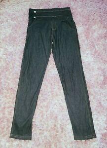 Ladies Womens Diamante Blue Jeans Denim Effect Leggings Trousers Size 12 14