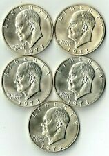 1973-S Eisenhower 40% Silver Dollars Five Coins (5) All Uncirculated