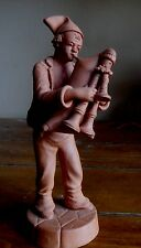VINTAGE CATANIA ITALY TERRA COTTA CLAY BAGPIPE PLAYER FIGURINE - MINT