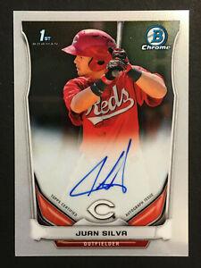 Juan Silva Reds signed 2014 Bowman Chrome 1st rookie Auto baseball card #BCAP-JS