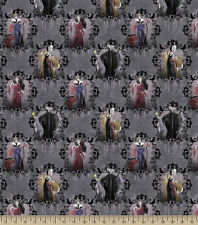 Disney Villains Portraits Dark Grey premium 100% cotton fabric by the yard