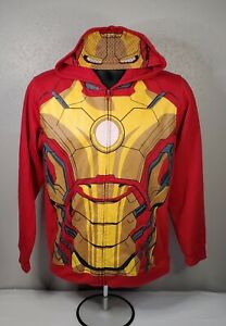 Marvel Iron Man 3 Zip Up Hoody Adult XL With Mask Hood Mens Sweater