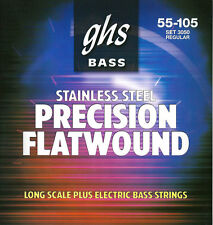 GHS 3050 Flatwound Stainless Steel Long Scale Plus Bass Strings (55-105) +Picks