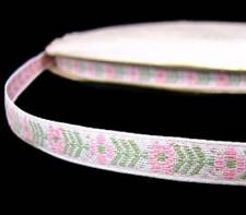 "5 Yards Pastel Pink White Flower Woven Jacquard  Ribbon Trim 3/8""W"