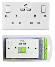 Double White Wall Faceplate 2 Gang Plug Socket 13A with 2 USB Outlets Ports