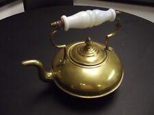 Antique C.1900 Brass Hot Toddy Kettle/ Milk Glass Handle Birmingham England.
