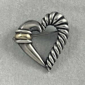 David Yurman Sterling & 14K Yellow Gold Cable Heart Pin/Brooch-1""