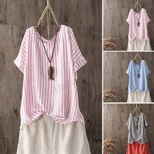 ZANZEA Women Summer Striped Crew Neck Short Baggy Tops Blouse Ladies T-Shirts