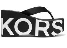 Michael Kors Benny Flip-Flop Wedge Platform Sandals Black & White Women's Size 9