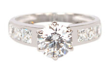 Shape Solitaire With Accents Engagement Ring 14Kt White Gold 2.85 Carat Round