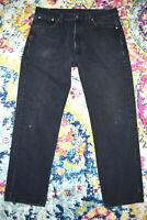 LEVI'S 501-0660 Vtg Black Denim Button Fly Jeans W36 L31 USA 1988-91 Overlock