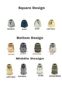 QUALITY SOLID METAL CORD STOPPERS LOCK ENDS 3 DESIGNS VARIOUS QUANTITIES