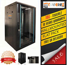 18U SERVER RACK DATA NETWORK CABINET 19 INCH 600 (W) x450 (D) x1000 (H) Flatpack