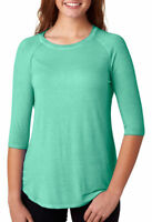 J America Women's New Casual Crew Neck Oasis Wash 3/4 Sleeve Basic Tee. J8232