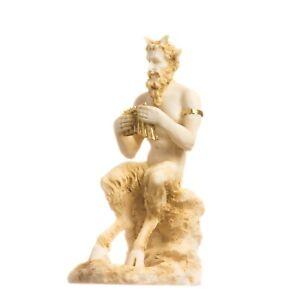 "Satyr Pan Panas Greek Roman Statue Handmade Alabaster Gold Male Figure 4.7"" 12cm"