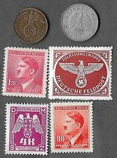 Rare Very Old WWII Nazi Germany Swastika SS Coin Hitler Stamp Collection War Lot