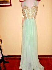 EILEEN KIRBY charm GOWN DRESS size 8 NEW&tags $660 green mesh&beads ball evening