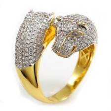 18K Gold Plated Jaguar Band Flooded Out Iced Premium CZ Dual Panther Mens Ring