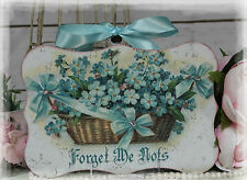 """FORGET ME NOTS..."" Vintage Shabby Country Cottage Chic style Wall Decor. Sign"