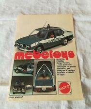 "PUBBLICITA' ORIGINALE ADVERTISING MODELLINO ""ALFETTA POLIZIA."" MEBETOYS del 1978"