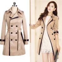 Women's Double Breasted Slim Overcoat Fit Trench Long Coat Jacket Parka Outwear