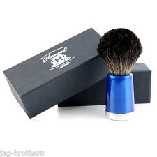 Men's 100% Black Badger Hair Shaving Brush in BLUE TAPPER Handle Made in UK