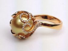 18K Rose Gold Yellow Pearl 11.5 Mm and Round Diamond Cocktail Right Hand Ring