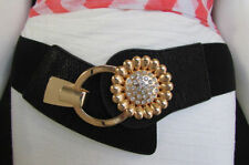 Women Black Elastic Trendy Belt Gold Metal Sun Flower Hip Waist Size S M