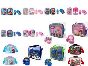 CHILDRENS KIDS DISNEY MARVEL LUNCH BAG WITH BOTTLE & SANDWICH BOX
