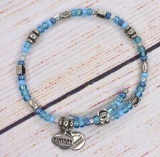 Alex and Ani INDIAN SUMMER COLLECTION ASHBURY Sky Blue WRAP Silver Bracelet