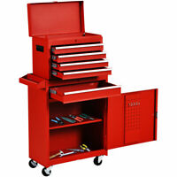 2 in 1 Rolling Tool Box Organizer Tool Chest W/5 Sliding Drawers Utility Red