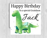 Handmade Personalised Birthday Card Grandson~Son~Nephew~Cousin~Dinosaur