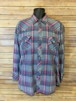 ATB - Authentic Western Wear Pearl Snap Shirt Size 17 Mens Plaid Long sleeve