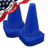 """9"""" Tall BLUE CONES Sports Training Safety Cone Qty 12"""
