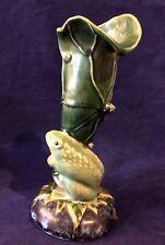 "Antique Vintage  Majolica Frog Toad on Leaf Vase Unmarked Approx 11 1/2"" Tall"