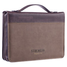 Strength LuxLeather Large Two-tone Brown Bible Cover by Christian Art Gifts