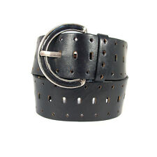 OMEGA Black Leather Wide Belt w Perforations 9367 Women's M - Made in America