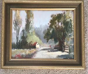 Artist J Douglas Hosea Framed Oil On Board The Road Near Ellingham Norfolk